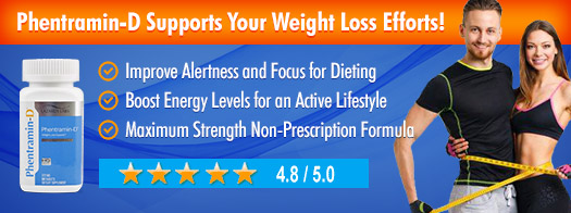 Phentramin-D.com Supports Your Weight Loss Efforts 4.8 stars banner